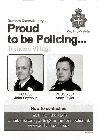 Trimdon Village local Police Officers